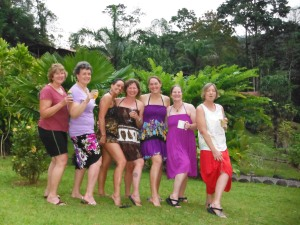 Dressing for happy hour at Jungle Camp - a two night stay on the Pacuare