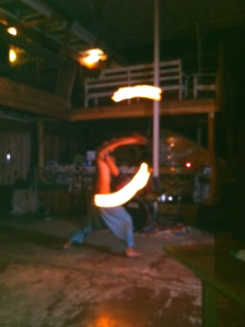 Fire dancing at post-super bowl jam session